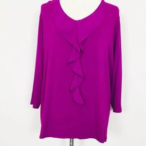 Coldwater Creek Magenta Ruffle Blouse Top